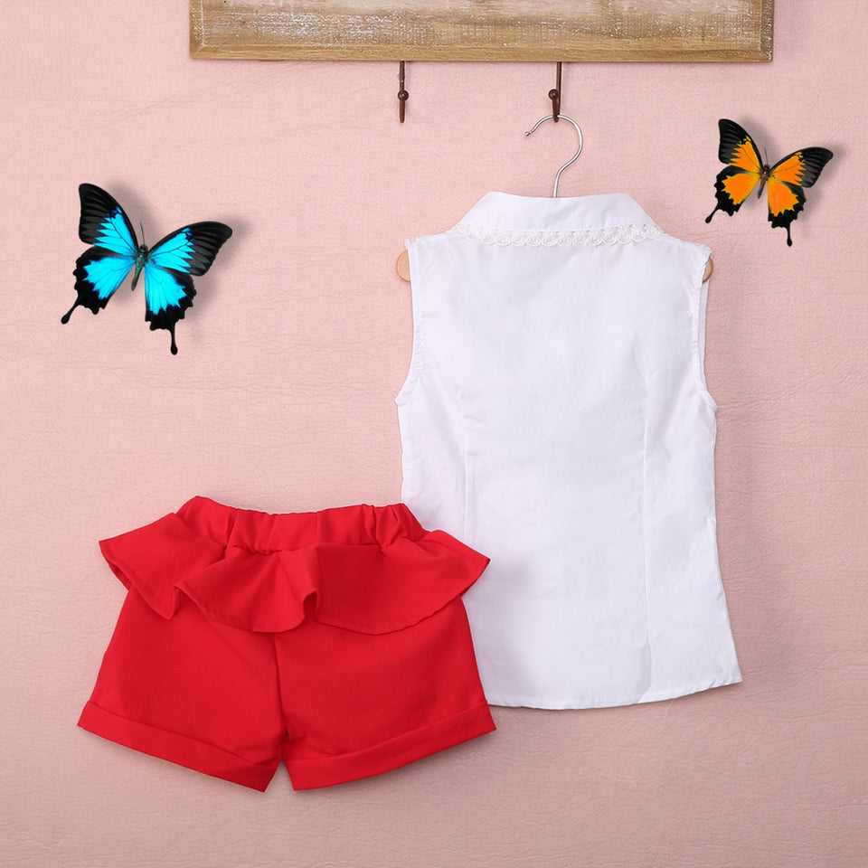 Elegant White Blouse & Red Short Set