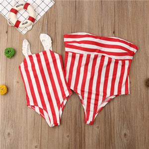 White & Red Striped Swimsuits
