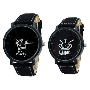 King & Queen Leather Quartz Wrist Watches
