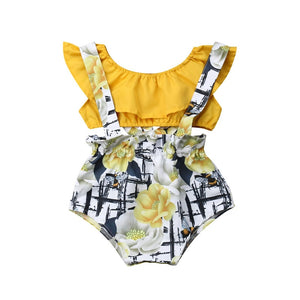 Floral Romper & Yellow Tube Top Set