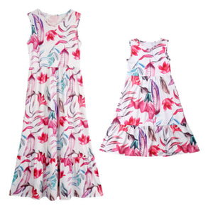 Long Sleeveless Pink Floral Dresses