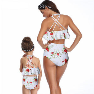 High Waist Rose Floral Print Swimsuits