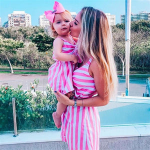 Sleeveless Cute Pink Striped Dresses