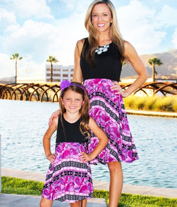 Above Knee Purple Pattern Dresses