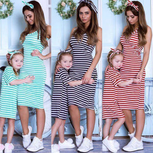 Casual Sleeveless Striped Dresses