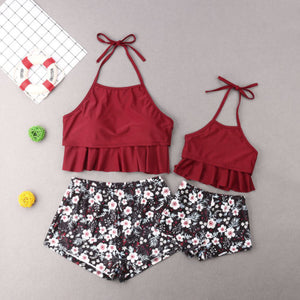 Red Floral Swimsuits
