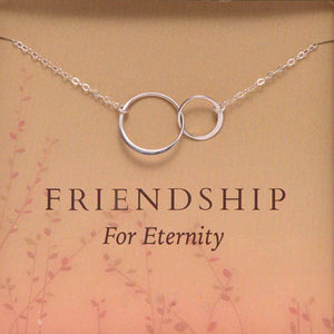 """Friendship For Eternity"" Double Silver Circle Pendant Necklace"