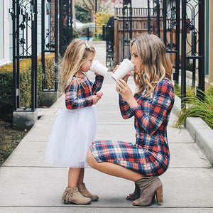 Long Sleeve Plaid Dresses