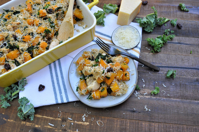 Butternut Squash, Chicken, Dried Cherry & Kale Casserole