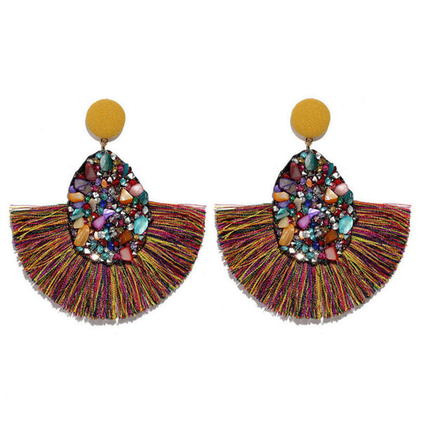 Stones and Fringes Earrings