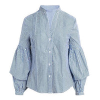 Plaid Blue Ruffle Long Sleeve Shirts