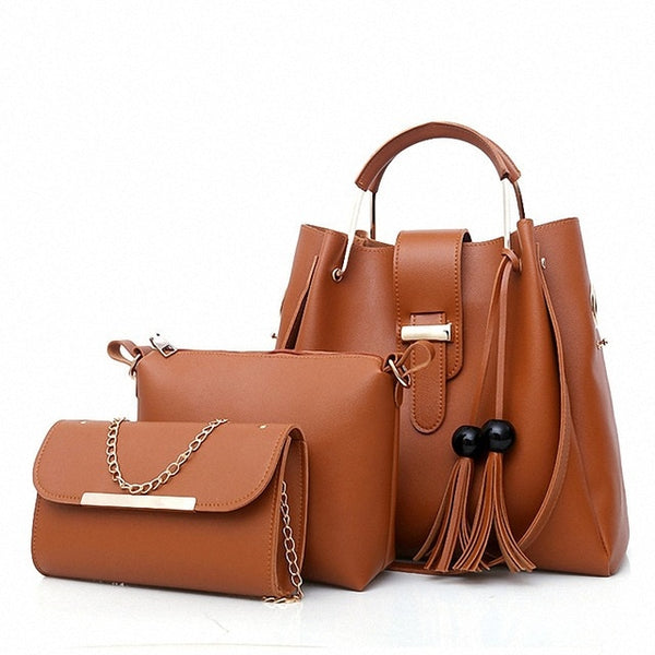 3 Piece Leather Handbag Set