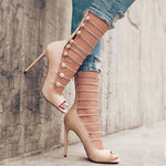 Elastic Buckle Roman High Heels