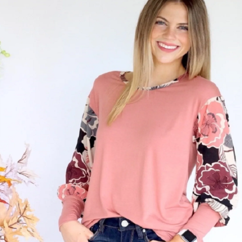Bubble Sleeve Floral (Multiple Colors) Top Only $20.99! (Reg. $42.99)