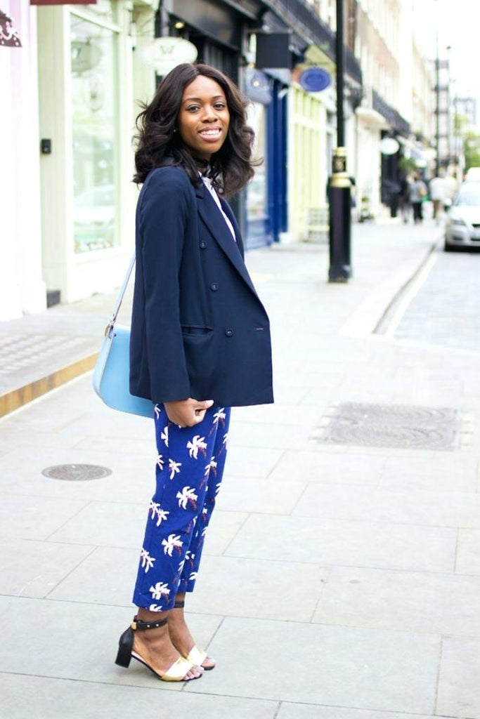 ladies navy blue blazer woman in navy blazer and soft pants ladies navy blue blazer jacket.