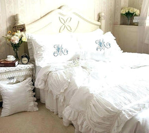 Archaikomely Linen Ruffle Bedding