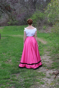 The Fur Trimmed, Pink Silk, Edwardian Skirt