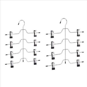 4 Tier Trouser/Skirt Hanger - Chrome and Black Vinyl - 2 PACK