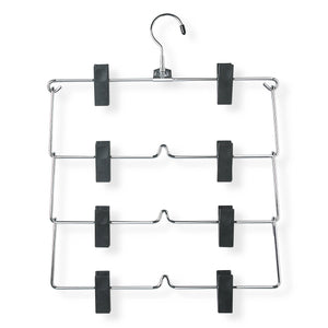Honey-Can-Do HNGT01188 Fold Up Skirt Hanger, Chrome/Black, 4-Tier, 2 Pack