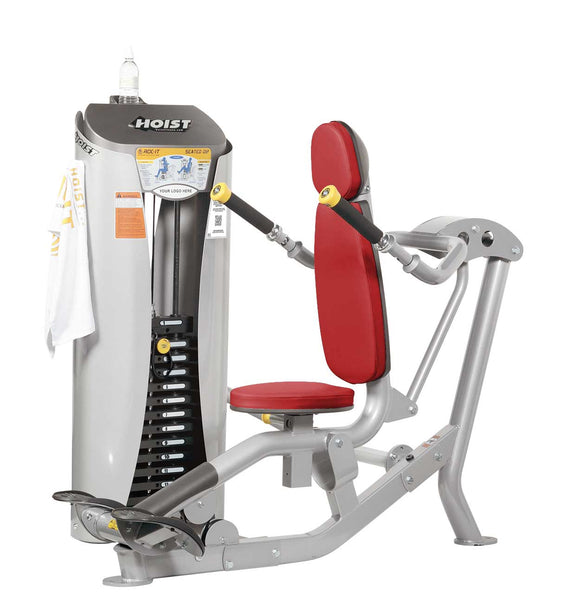 HOIST Fitness ROC-IT Selectorized Seated Dip with red upholstery | RS-1101