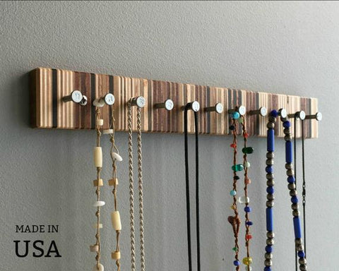 Jewelry Rack, Modern Wood Jewelry Rack, for Rings and Necklaces, Wall Mountable by andrewsreclaimed
