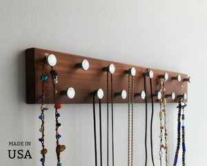 Necklace Organizer, Modern Necklace Rack, Wall Mount, Reclaimed Wood by andrewsreclaimed