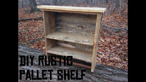 Rustic bathroom shelf with towel rack, made of pallets and scrap woods I had laying around the shop