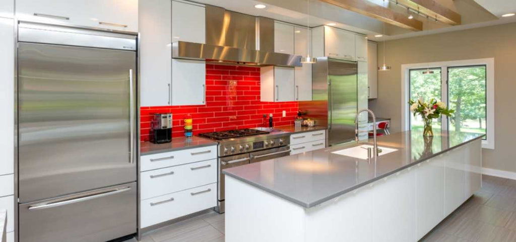 Contemporary wall tile designs in color red look exciting and striking