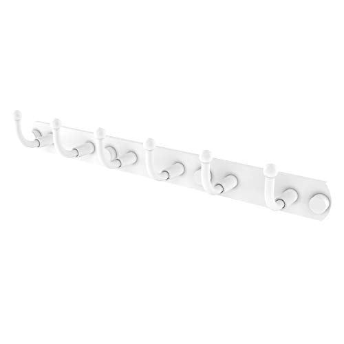 Allied Brass 1020-6 Skyline Collection 6 Position Tie and Belt Rack Decorative Hook, Matte White