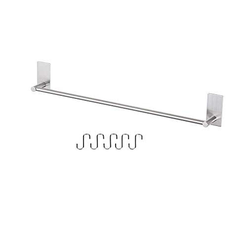 Togu 21.6 inch Self Adhesive Single Towel Bar with 10 S Hooks, Heavy Duty SUS 304 Stainless Steel, Stick on Bathroom Lavatory with Square Base Hanging Towel, Brushed Stainless Steel Finish