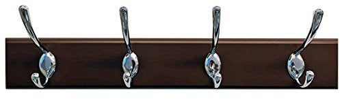 Headbourne 18-Inch Dark Brown Rail/Coat Rack with 4 Chrome Double Hooks