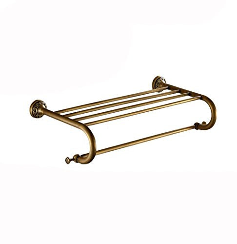 Ping Bu Qing Yun Towel Rack - Brass, Double Layer, Multi-Function, Perforated, Antique, Wall-Mounted Retro Bathroom Storage Towel Rack, Suitable for Bathroom, Kitchen - 62.5x26.5x15cm Towel Rack