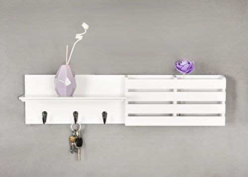 Julie-Home Floating Wall Mounted Mail Holder and Coat Key Rack Shelf with 3 Hooks, 24''x 6'', White