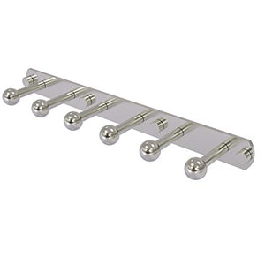 Allied Brass P1000-20-6 Prestige Skyline Collection 6 Position Tie and Belt Rack Decorative Hook, Satin Nickel