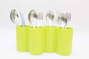 4 Compartments Pen Pencil Desk Organizer Utensils Cutlery Spoon and Fork Holder Caddy Set for Kitchen, Dining Blue - 9 inches (Florescent Green)