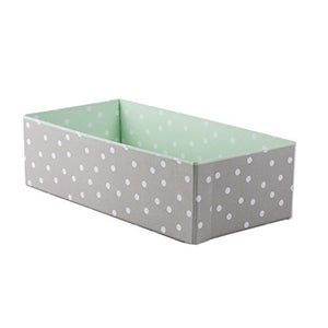 Home Traditions CBBB01344 Foldable Cloth Storage Box Closet Dresser Organizer Cube Basket Bins Containers Divider with Drawers for Underwear, Bras, Socks, Ties, Scarves, Rectangle, Grey Polka Dot