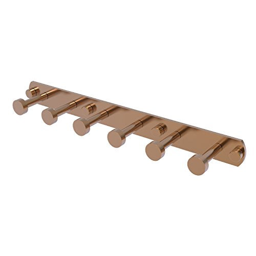 Allied Brass FR-20-6 Fresno Collection 6 Position Tie and Belt Rack Decorative Hook, Brushed Bronze