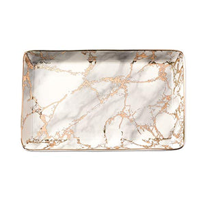 Large Golden Striped Marble Plate - Ceramic Jewelry Tray, Ring Holder, Bracelets Plate, Dessert Dish - Perfect for Holding Small Jewelries, Rings, Necklaces, Earrings, Bracelets, Cosmetics, etc.