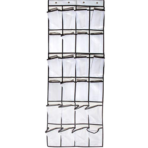 Over The Door Shoe Organizer -24 Large Mesh Pockets with 4 Hooks,600D Oxford Fabric Shoe Hanging Storage Organizer for Closet Shoes Storage (24 Pockets Door Shoe Organizer)