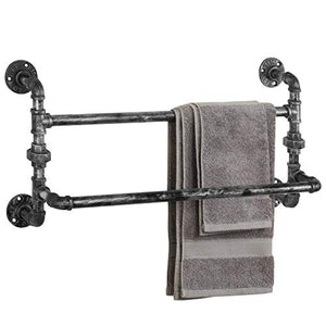 MyGift Industrial Double Metal Pipe Wall-Mounted Towel Bar Rack