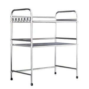 Microwave Oven Racks Kitchen Racks Spice Rack Supplies Floor Thick Stainless Steel Load-Bearing Strong Belt Hook Length 53cm (20inches)