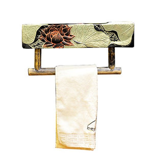 Ping Bu Qing Yun New Chinese Style Bathroom Frame Old-Fashioned Bathroom Toilet Single Towel Rack Resin Natural Towel Rack Classical Style Bathroom Accessories Towel Rack
