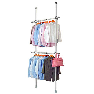 "LUBAN King Adjustable Garment Rack with 2-Tiers Heavy Duty Hang Clothes Rack for Storage and Display, Closet Organizer 220 lb Load with 30"" x 97"" Expands to 53"" x 119"""