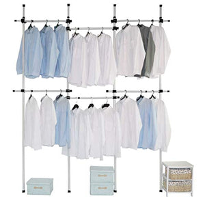 Asunflower Clothes Rack Hanger, Clothes Bar No Drilling 6-Tier Adjustable Garment Rack Heavy Duty Clohthing Organizer System