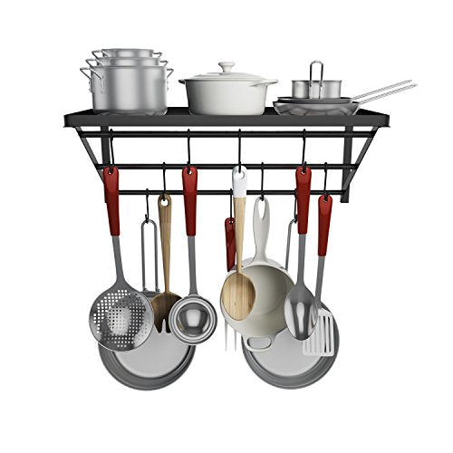 Oguine Kitchen Wall Mounted Pot Rack with 10 Hooks — Multi-Purpose Shelf Organizer for Kitchen Cookware, Utensils, Pans, Books, Household Items, Bathroom