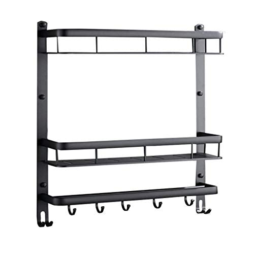 Black Shower Basket - Wall-mounted Racks Space Aluminum Double-layer Long Belt Hook Towel Bar Bathroom Accessories Free Punching (Size : 42cm)