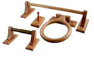 4 Pcs Rustic Oak Bathroom Accessories Sets With Toilet Paper Holder, Towel Rack, Towel Hook and Towel Ring
