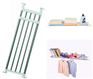 BAOYOUNI Expandable Closet Tension Shelf Adjustable Clothes Storage Rack Hanger Rod Organiser Ivory, 39.76-60.04 Inch