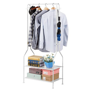 LANGRIA Heavy Duty Commercial Grade Clothing Garment Rack, 2-Tier Entryway Metal Coat Rack and Shoe Bench Storage Stand with Single Rod and 4 Hooks for Home Office Bedroom Max Capacity 66.1lbs, White