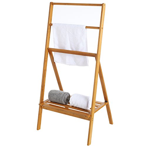 MyGift Freestanding 43-Inch Bamboo Folding Towel Stand with Shelf, Brown